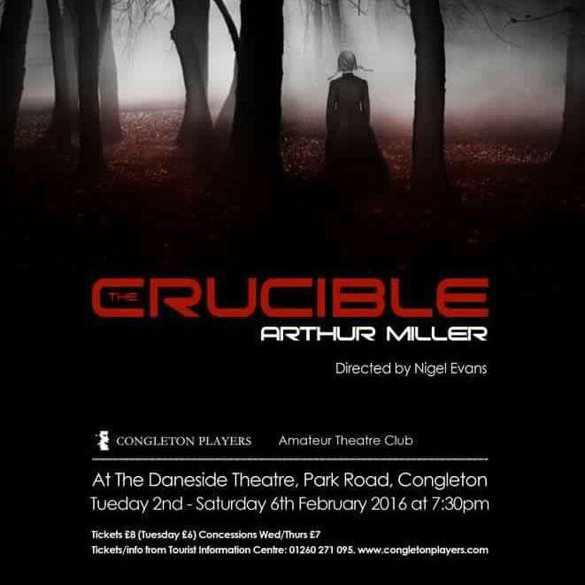 Congleton Players' poster for their recent adaptation of Arthur Millers' The Crucible.